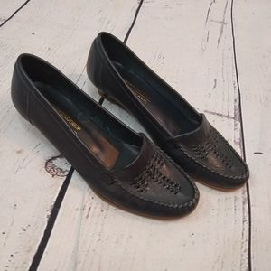 80s navy leather wedge loafers